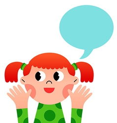 Happy cartoon girl with speach bubble vector image vector image