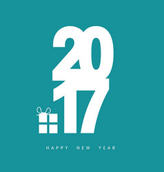Happy new year 2017 with gift box in blue vector