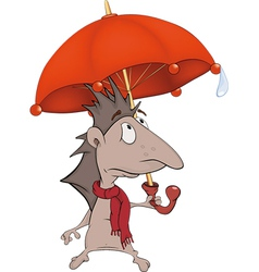 Hedgehog with an umbrella vector image