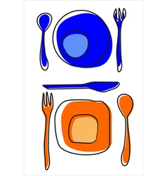 Icons of plates and cutlery table setting vector image
