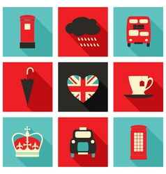 long shadow london icons set vector image