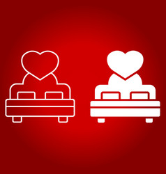 Lovers bed with heart line and glyph icon vector