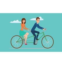 Man and woman on twin bike young couple riding a vector
