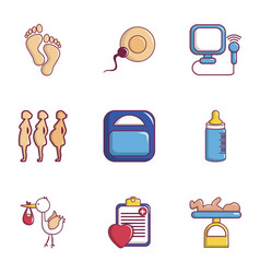 Medicine and pregnancy icons set flat style vector