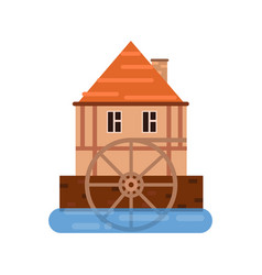 Old house and wooden water wheel ancient vector