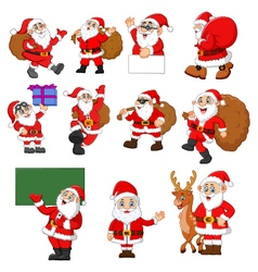 santa claus cartoon collection vector image