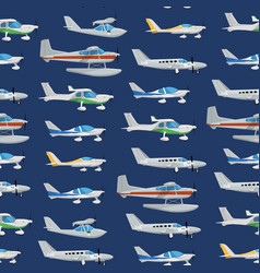 Seamless pattern with propeller airplanes vector