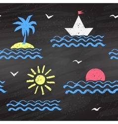 Seaside chalked pattern vector
