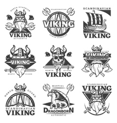 Vintage Viking Label Set vector image