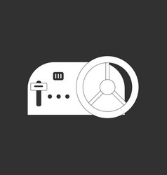 White icon on black background steering wheel and vector