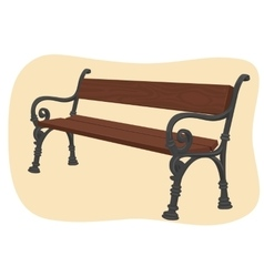 Wooden park bench on brown background vector image vector image