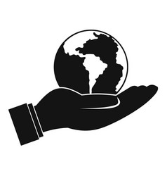 World planet in man hand icon simple style vector