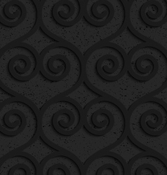 Black textured plastic swirly hearts in slim grid vector