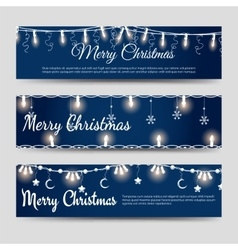 Christmas banners with shining garlands vector