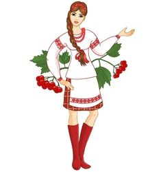 Young woman in ukrainian clothes vector