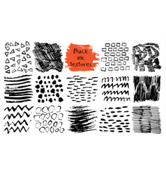 set black ink abstract textures vector image