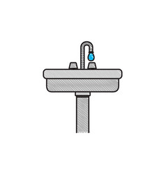 Colored crayon silhouette of wide washbasin with vector