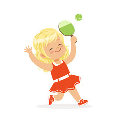 Girl playing table tennis kid serving ping pong vector