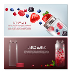 Detox beverages horizontal banners vector