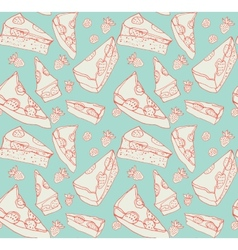 Strawberry pie seamless pattern vector