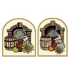 Cellar with products vector