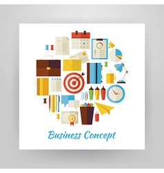 Flat style circle set of business workplace and vector