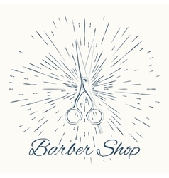 Scissors and vintage sun burst frame barbershop vector