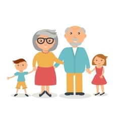 Senior grandparents with their grandchilds people vector