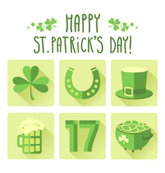 St patricks day icon set in flat design vector