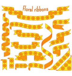 Cartoon stripped ribbons with flowers vector