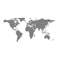 Black linear symbol of world map on white vector