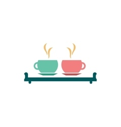 Flat icon on white background couple cups vector