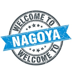 Welcome to nagoya blue round vintage stamp vector