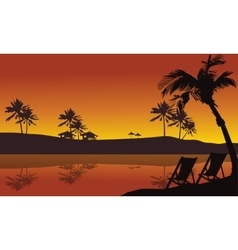 Beautiful silhouette in seaside summer holiday vector image