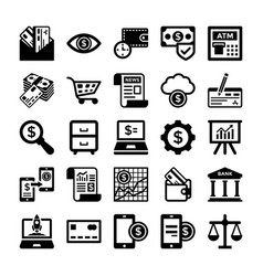 Banking and finance line icons 6 vector