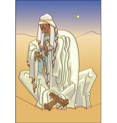 Bedouin with clock vector