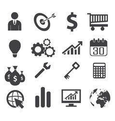 black white business concept icons vector image vector image