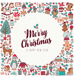 Christmas and new year hand drawn cute holiday art vector
