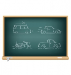 drawing cars by a chalk vector image vector image