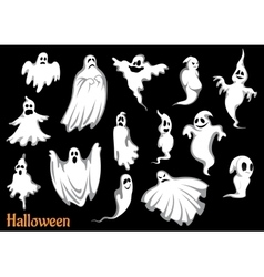 Eerie flying halloween ghosts and monsters vector