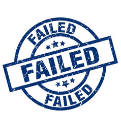 Failed blue round grunge stamp vector