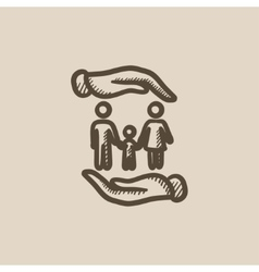 Family and hands sketch icon vector image