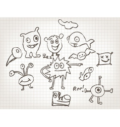 funny hand drawn doodles vector image