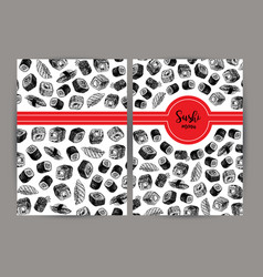 hand drawn cover with sushi background vector image