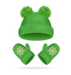 Hat with a pompom and mitten set vector