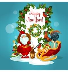 Holidays greeting card with santa and gift vector