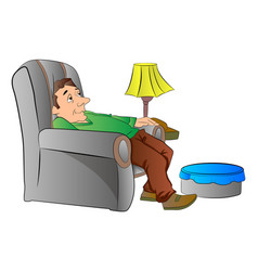 Man slouching on a lazy chair or couch vector