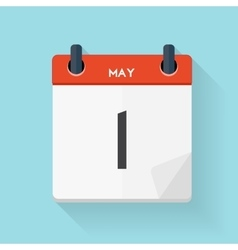 May 1 Calendar Flat Daily Icon vector image