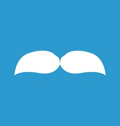 mustache icon white on the blue background vector image