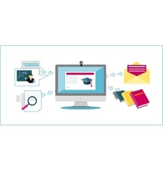Online Education Icon Flat Design vector image